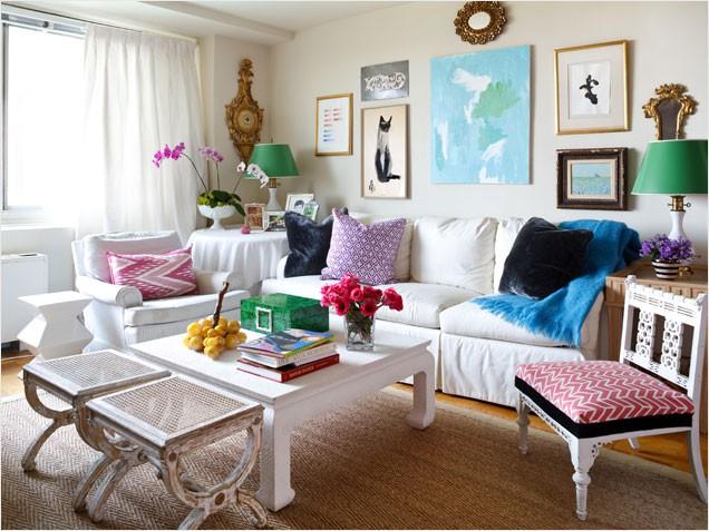 white couch - sarah tuttle via ivillage